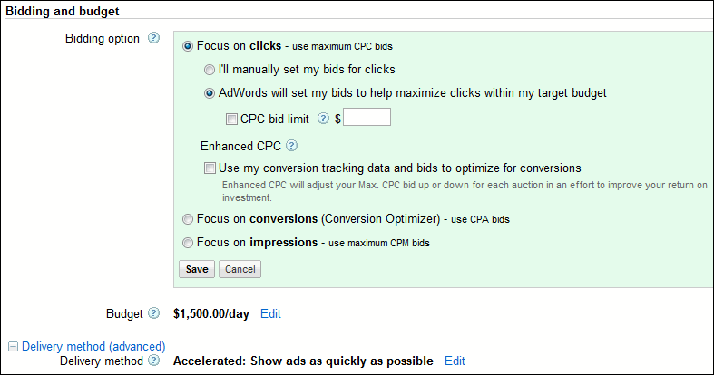 Set Up bid limit for your ad
