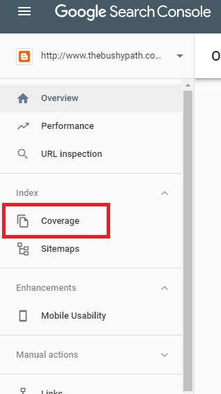 Google Search Console - Coverage