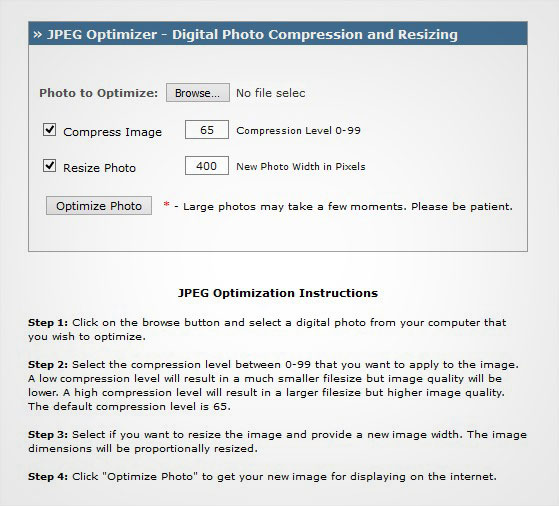 Use JPG Optimizer to optimize images