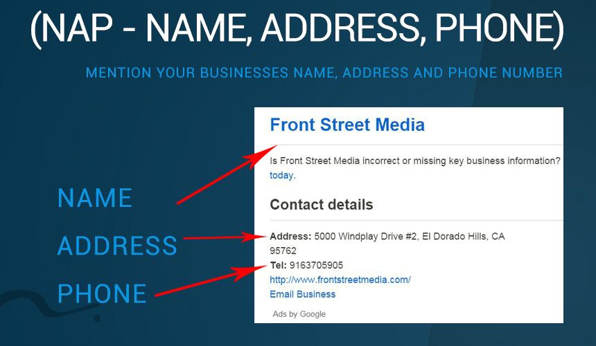 NAP - Name, address, phone