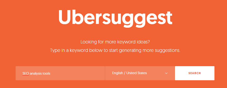 Ubersuggest - keyword research and suggestion tool