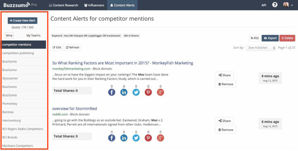 Create Alerts for your BuzzSumo Dashboard