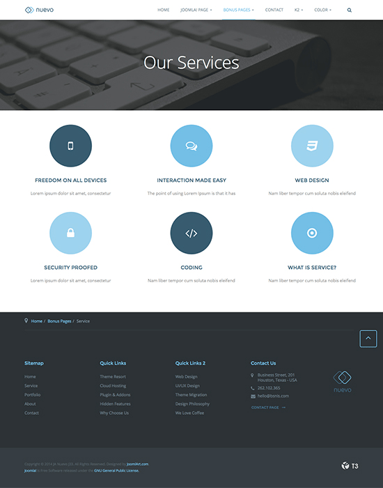 Our Services Web Page