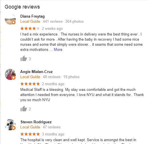 Tisch Hospital Google Reviews