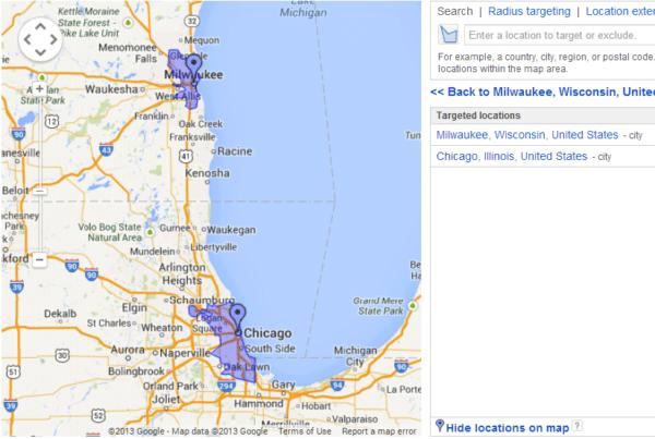 Locaton area displayed in google map