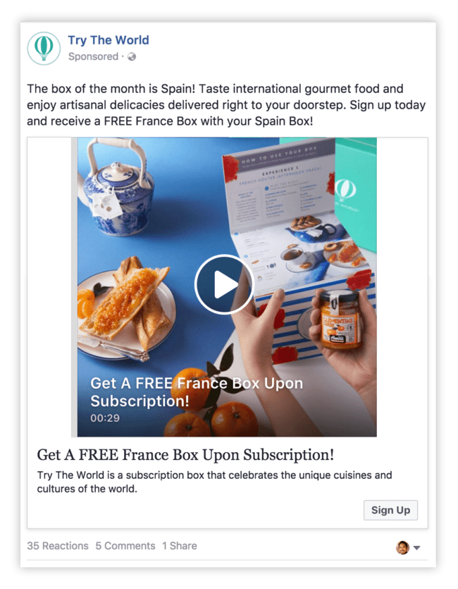 Facebook Video Ad Example
