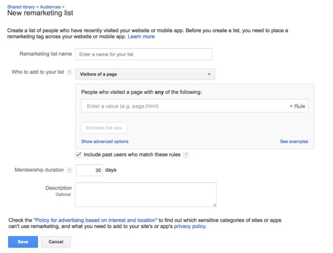Creating new remarketing list