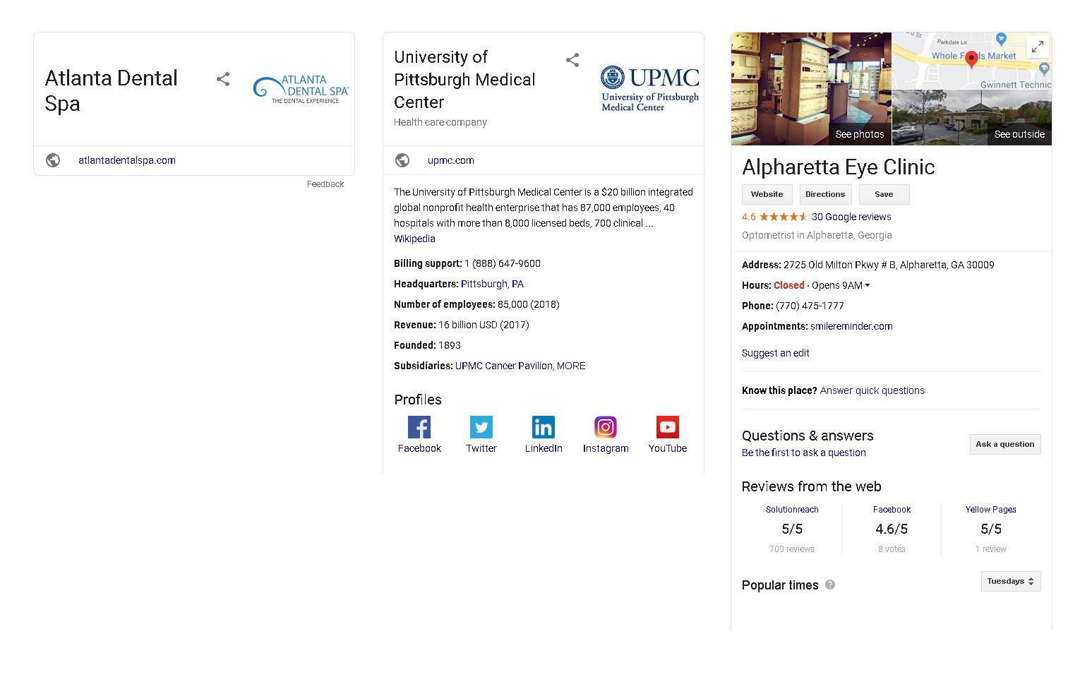 examples of healthcare providers Google knowledge panel