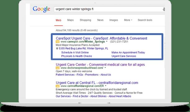 CareSpot Google AdWords