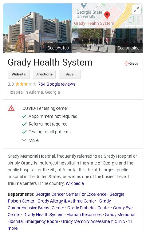 example of a Google My Business listing updated for COVID-19