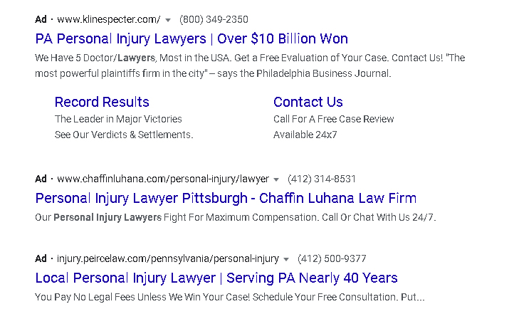 example of a Google ad for a law firm