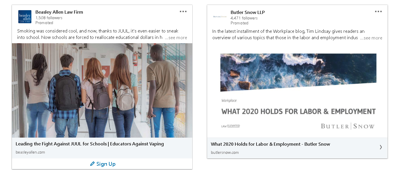 examples of law firm ads on LinkedIn