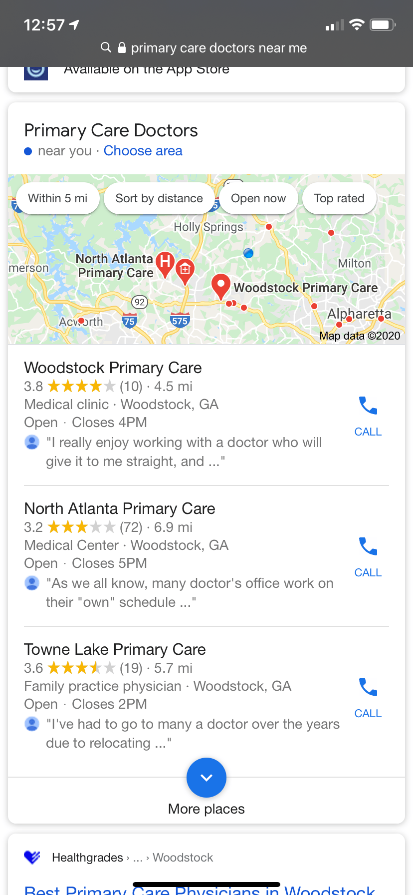 Google Maps Results for Primary Care Doctors Near Me