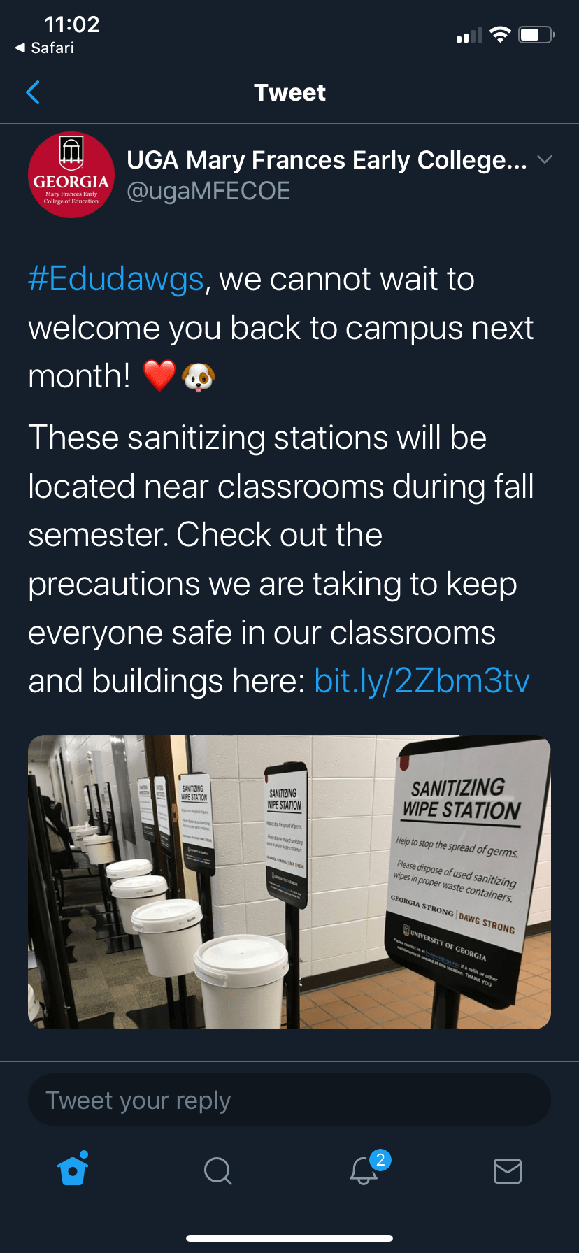 Screenshot of UGA's College of Education Twitter Account