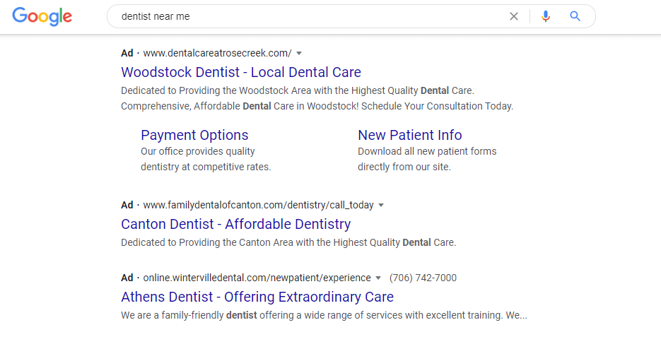 Google Ad for Dentist near me