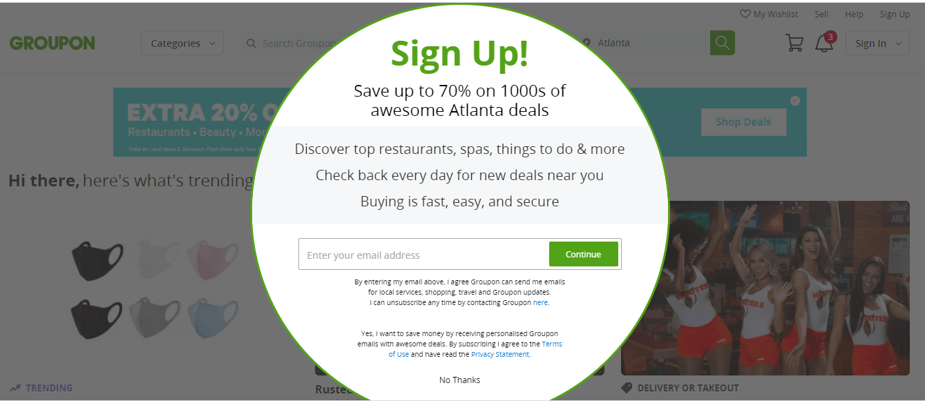 Groupon pop-up ad for Consideration Stage of Sales Funnel