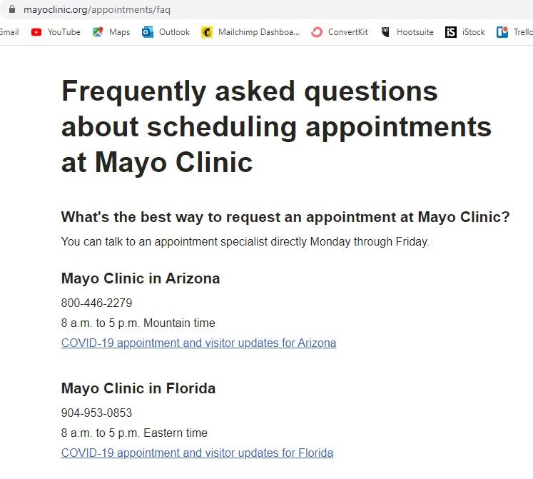 Mayo Clinic Location FAQ Page