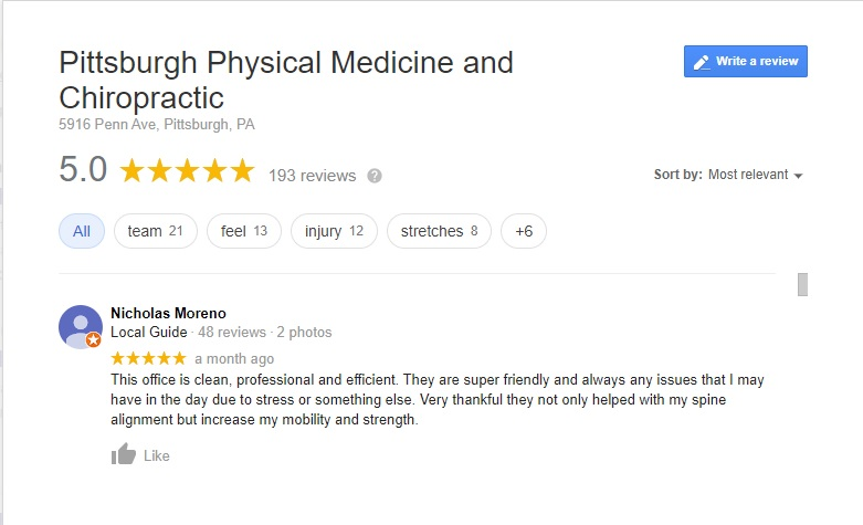 Screenshot of Google Review for Pittsburgh Physical Medicine and Chiropractic