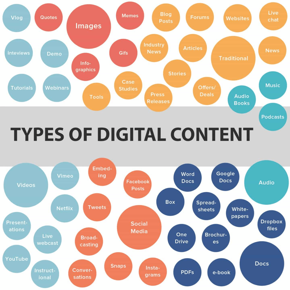 Types of digital content infographic