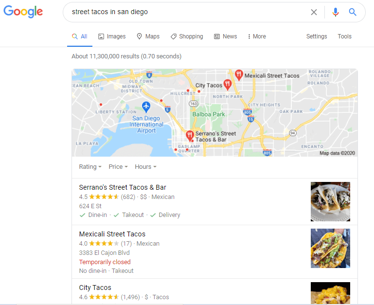 a local SEO search for tacos in san diego