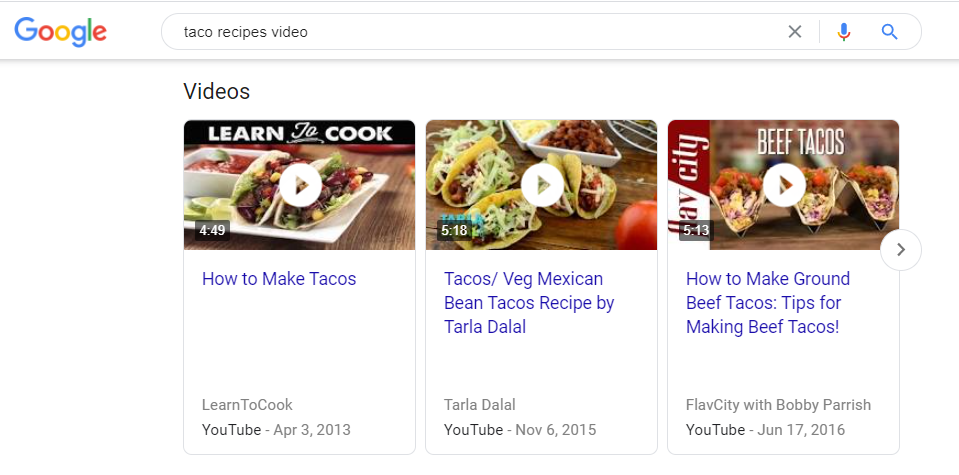 Google's algorithm demonstrating a video carousel