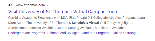 PPC Ad for Higher Ed virtual tour