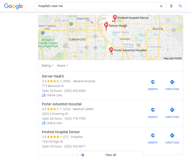 "Local SEO example demonstrating ""Hospitals near me"""