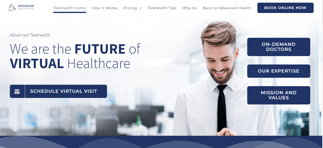 Telehealth page optimized for SEO