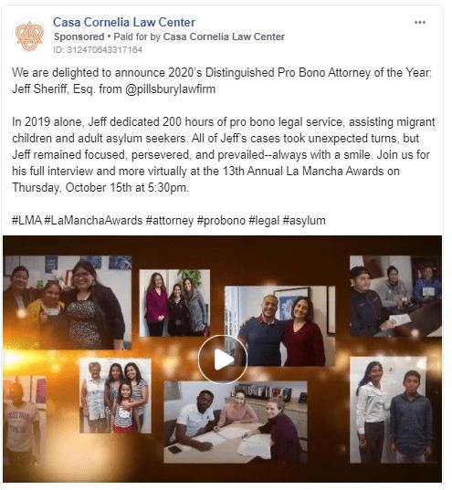 Facebook ad for pro bono work