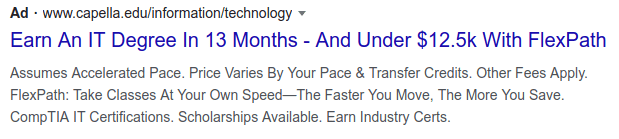higher education google PPC ad