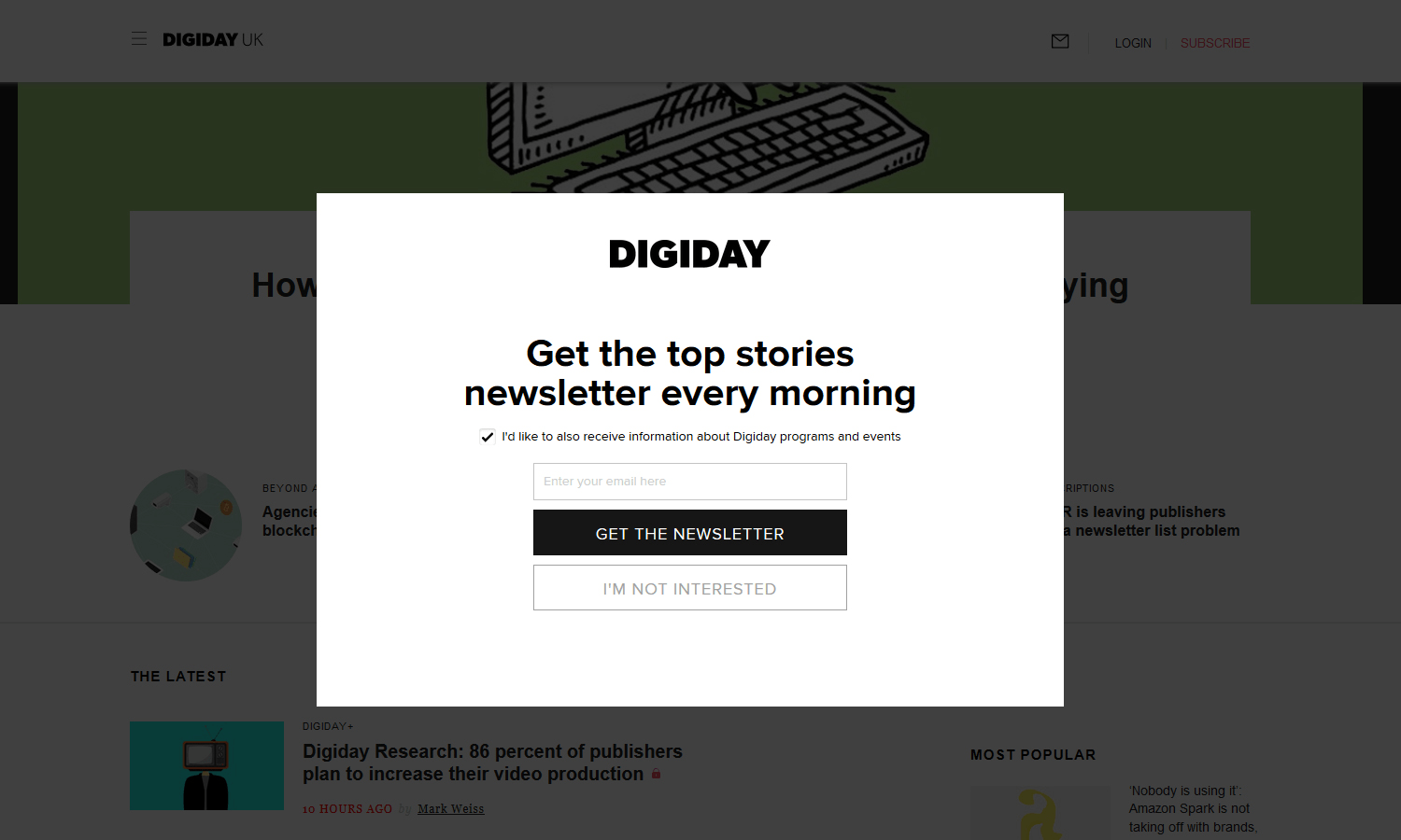 email newsletter pop up