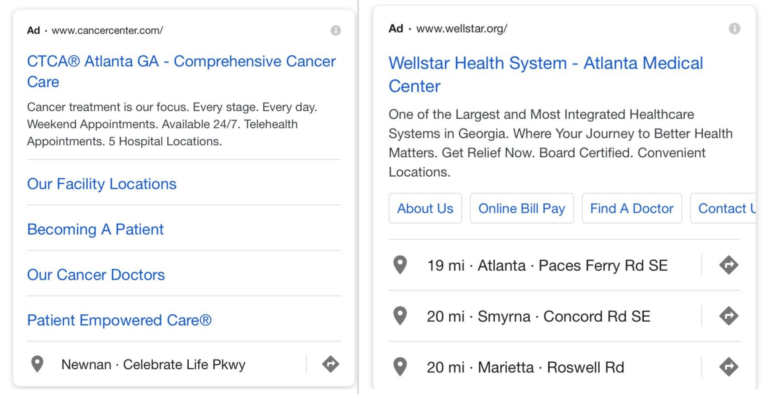 Healthcare PPC Ad extensions