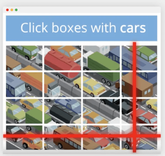 Images in a CAPTCHA.