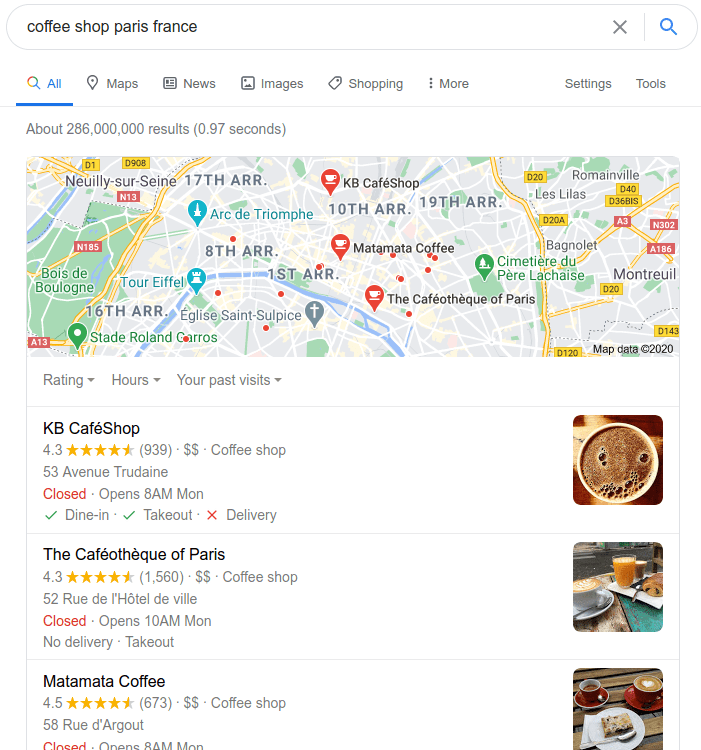 Google My Business page for trips abroad