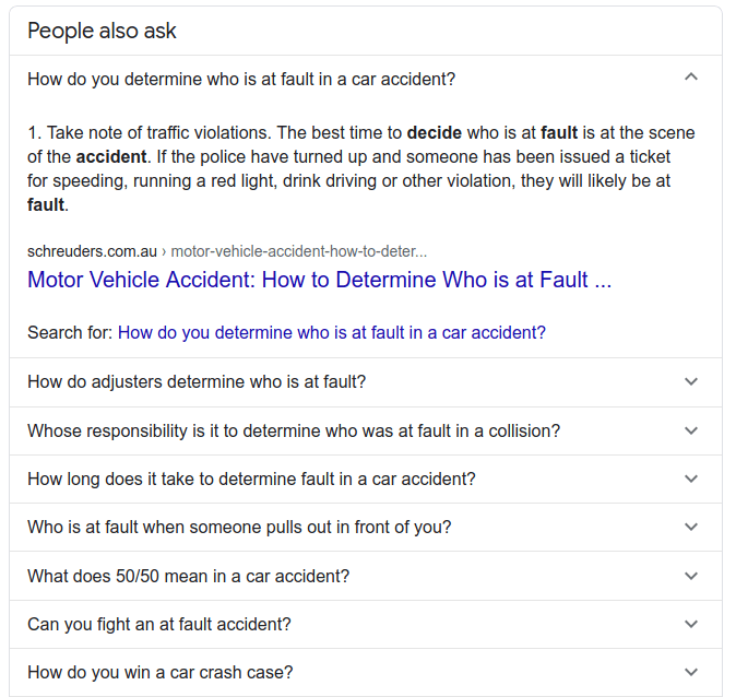 """people also ask"" Google result from Law FAQ page"