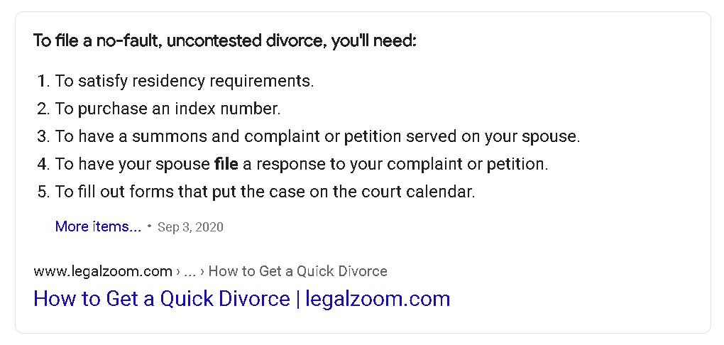 Google Feature Snippet for Divorce
