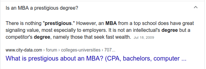 MBA question search results