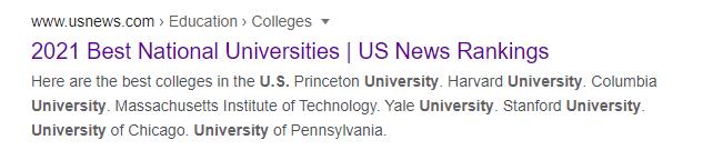 University rankings on Google