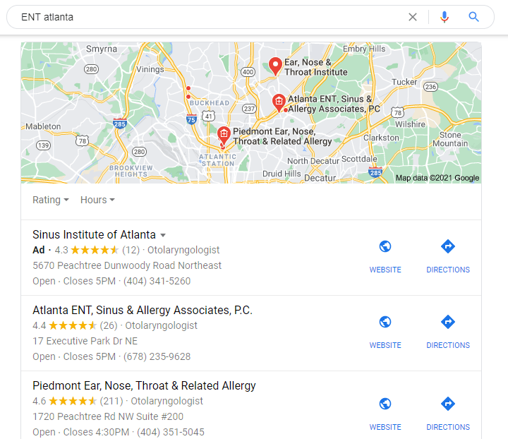 organic search results for local healthcare practices