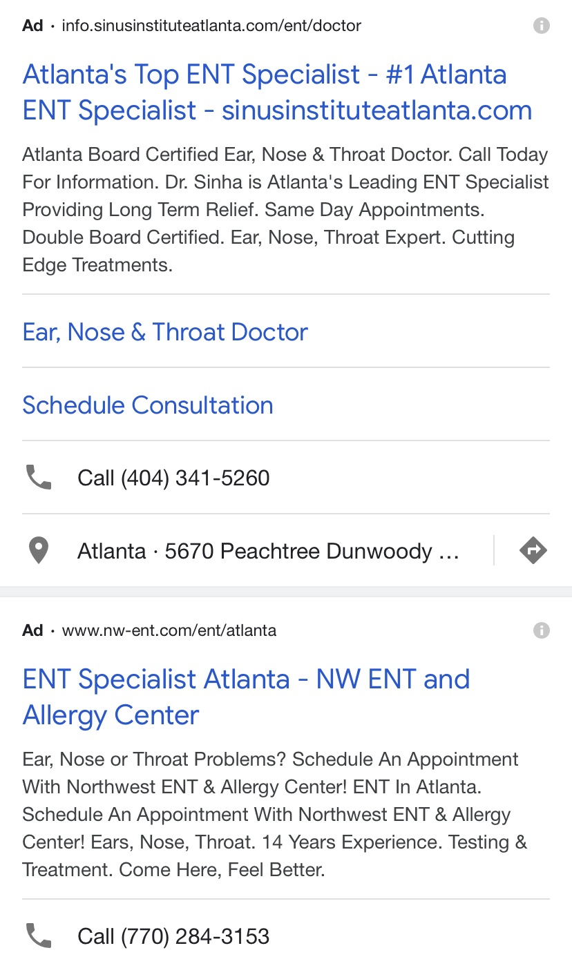 Ad extensions on mobile PPC ads help improve patient acquisition