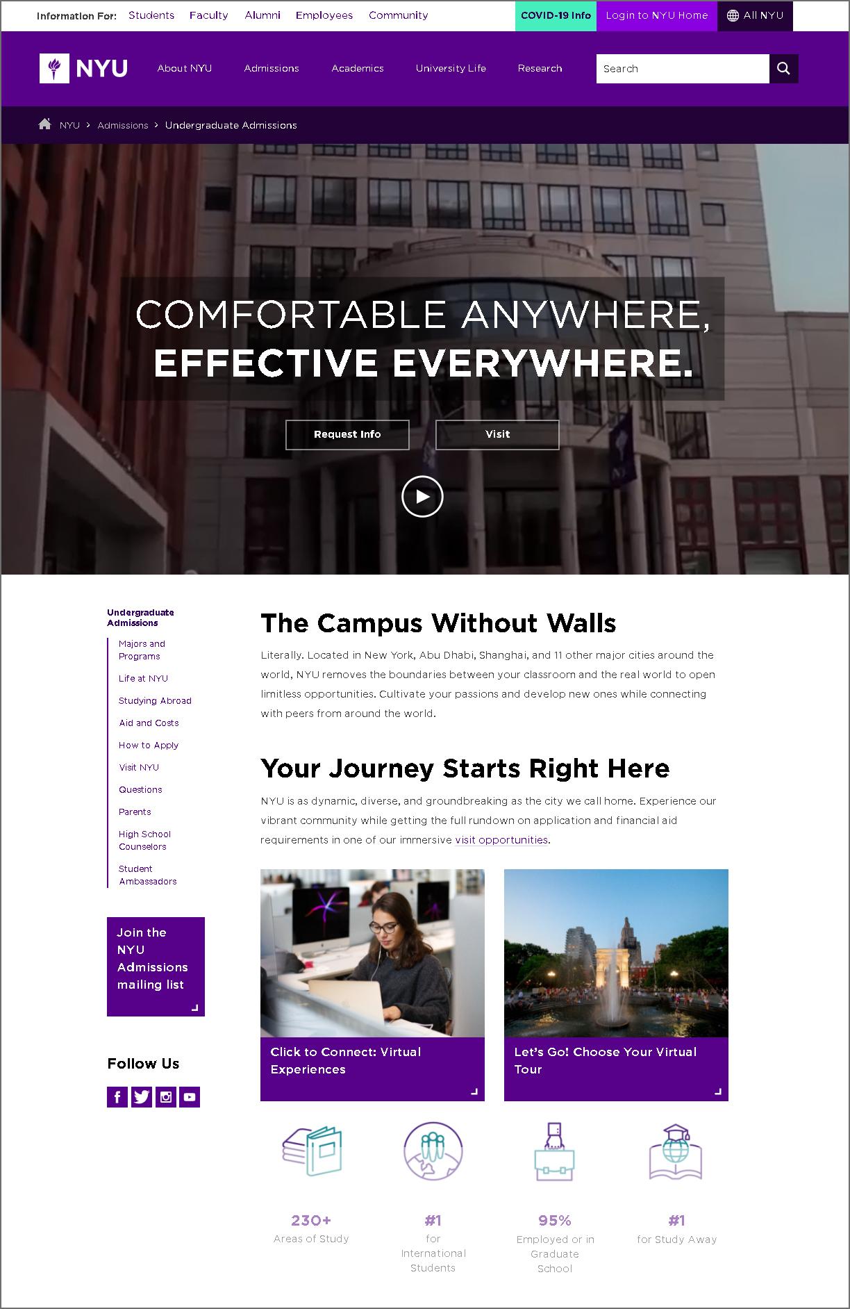 great college website design