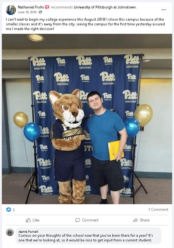 student reviews university on social media