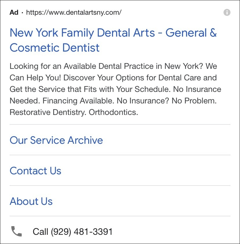 Dentist PPC campaign with ad extensions