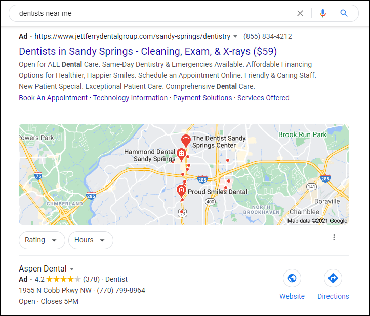 Location-based PPC ads for dentists