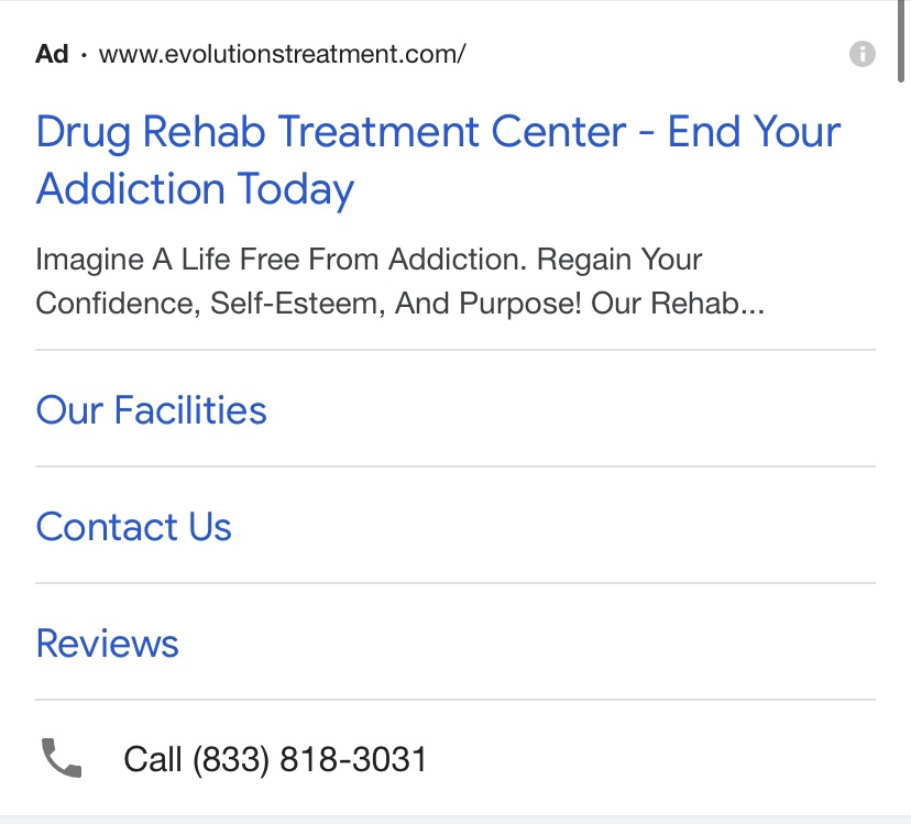Google Ads call extensions for rehab facilities