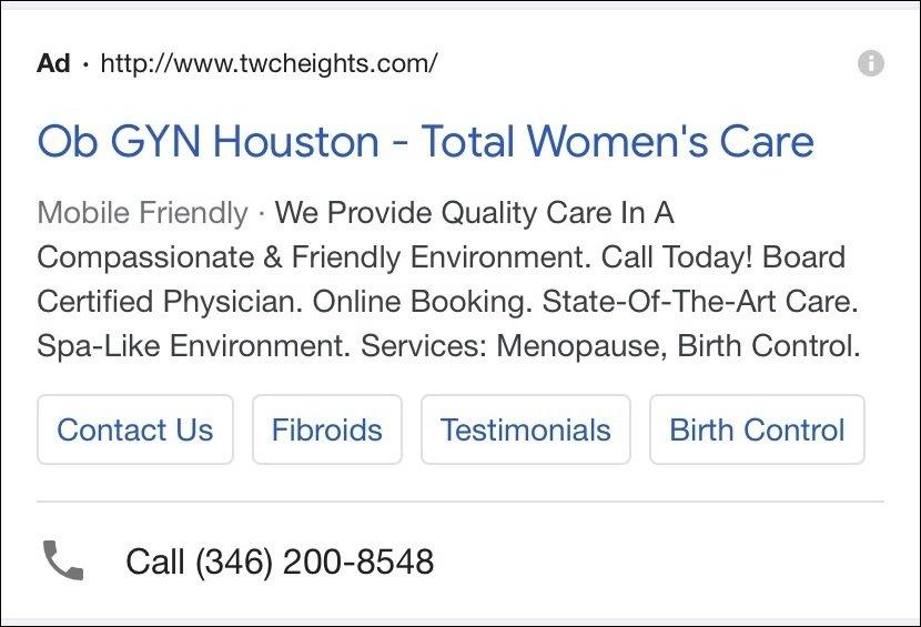 Healthcare PPC Ad Optimize for Mobile