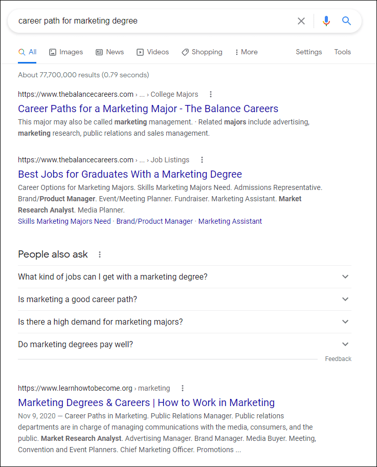 SEO Search query for higher ed