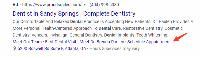 Use extensions to aid in dentist ppc campaigns