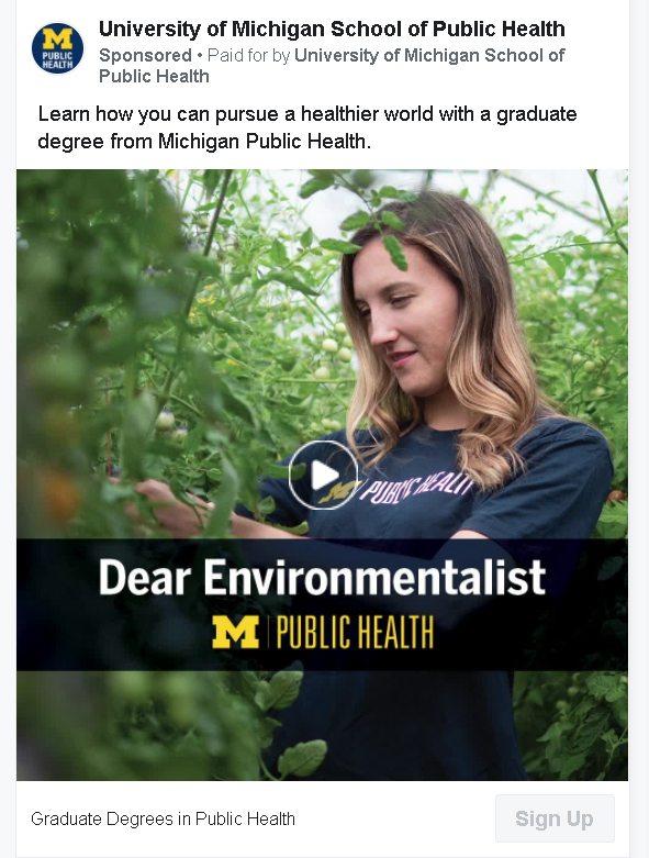 higher education facebook ad campaign