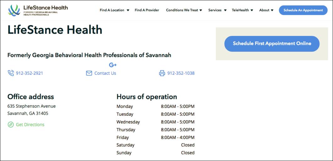 LifeStance Location Page